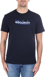 Niebieski t-shirt Woolrich z bawełny z krótkim rękawem