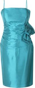 Turkusowa sukienka Fokus mini z długim rękawem