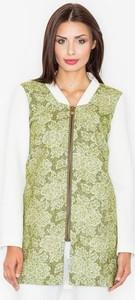 Zielony płaszcz Figl z tkaniny