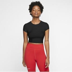 Czarny t-shirt Nike z krótkim rękawem z okrągłym dekoltem w sportowym stylu