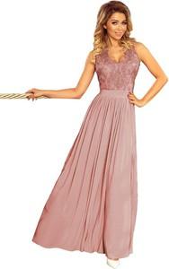 Różowa sukienka NUMOCO maxi z dekoltem w kształcie litery v bez rękawów