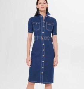 Niebieska sukienka Mohito koszulowa midi z jeansu