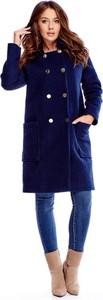 Niebieski płaszcz TAGLESS w stylu casual z wełny