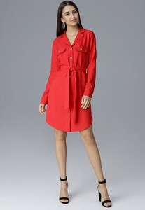 Czerwona sukienka Figl koszulowa