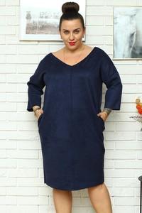 Niebieska sukienka KARKO z dekoltem w kształcie litery v z długim rękawem