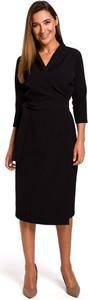 Sukienka Style z tkaniny z długim rękawem z dekoltem w kształcie litery v