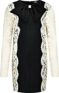Czarna sukienka Elisabetta Franchi mini z żabotem