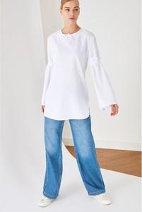 Bluzka Trendyol z okrągłym dekoltem w stylu casual z długim rękawem