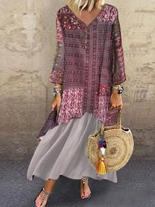 Sukienka Elegrina z długim rękawem z bawełny