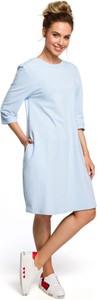 Niebieska sukienka MOE w stylu casual z okrągłym dekoltem z długim rękawem