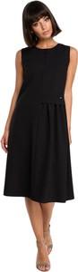 Czarna sukienka Be midi bez rękawów z okrągłym dekoltem