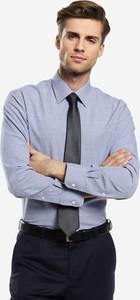 Niebieska koszula Wólczanka z długim rękawem z tkaniny
