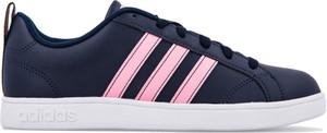 Niebieskie trampki Adidas ze skóry z płaską podeszwą sznurowane