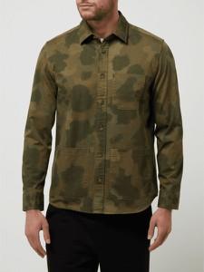 Zielona koszula Marc O'Polo z klasycznym kołnierzykiem z długim rękawem