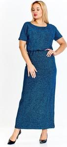 Niebieska sukienka omnido.pl maxi z okrągłym dekoltem