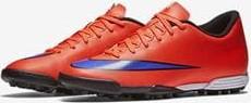Czerwone buty sportowe Nike ze skóry sznurowane mercurial