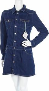 Niebieska sukienka Dua Lipa X Pepe Jeans mini koszulowa w stylu casual