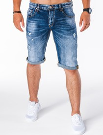 Niebieskie spodenki Ombre Clothing w sportowym stylu z jeansu