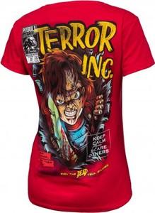 Czerwony t-shirt Pit Bull West Coast w młodzieżowym stylu z okrągłym dekoltem z nadrukiem