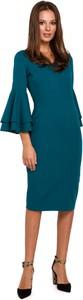 Sukienka Makover z długim rękawem z dekoltem w kształcie litery v z bawełny