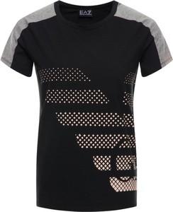Czarny t-shirt Emporio Armani z nadrukiem z krótkim rękawem z okrągłym dekoltem