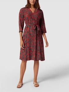 Czerwona sukienka Tommy Hilfiger z długim rękawem midi
