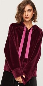 Fioletowa bluza Reserved krótka w street stylu