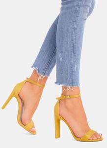 Żółte sandały DeeZee na wysokim obcasie na obcasie