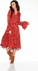 Czerwona sukienka Lemoniade w stylu casual rozkloszowana maxi