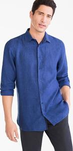 Niebieska koszula ANGELO LITRICO z lnu z długim rękawem z klasycznym kołnierzykiem