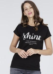 Czarny t-shirt Cross Jeans w młodzieżowym stylu