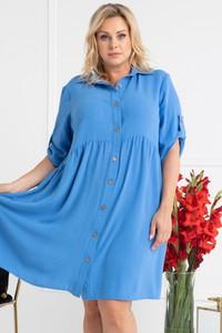Niebieska sukienka KARKO z długim rękawem oversize z kołnierzykiem