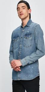 Niebieska koszula Premium by Jack&Jones z bawełny z klasycznym kołnierzykiem
