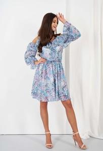 Niebieska sukienka Lemoniade z odkrytymi ramionami w stylu casual mini