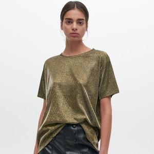 Zielona bluzka Reserved z okrągłym dekoltem z krótkim rękawem