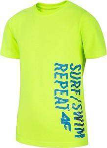 Zielona koszulka dziecięca 4F z dzianiny dla chłopców
