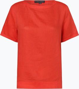 Czerwona bluzka Franco Callegari z lnu z krótkim rękawem