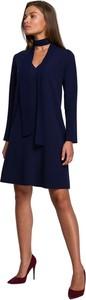 Niebieska sukienka Style mini w stylu casual z długim rękawem