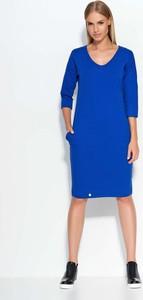 Niebieska sukienka Makadamia z bawełny z długim rękawem