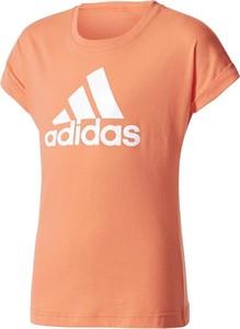 Pomarańczowa koszulka dziecięca Adidas z krótkim rękawem