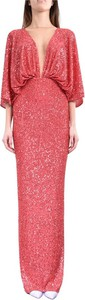 Czerwona sukienka Elisabetta Franchi z długim rękawem maxi z dekoltem w kształcie litery v