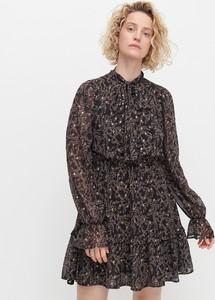 Czarna sukienka Reserved w stylu casual z długim rękawem mini