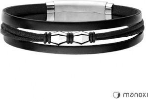 Manoki BA652B czarna bransoletka męska ze skóry naturalnej i sznurka bawełnianego
