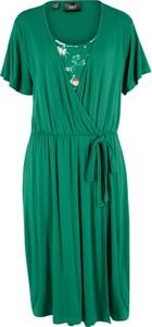 Sukienka bonprix bpc bonprix collection z okrągłym dekoltem midi w stylu casual