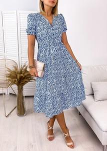 Niebieska sukienka Ubra z dekoltem w kształcie litery v z krótkim rękawem