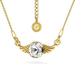 GIORRE SREBRNY NASZYJNIK SKRZYDŁA SWAROVSKI RIVOLI 925 : Kolor kryształu SWAROVSKI - Crystal, Kolor pokrycia srebra - Pokrycie Żółtym 24K Złotem