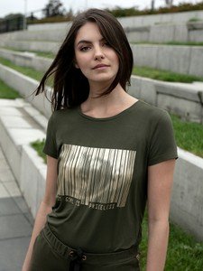 Zielony t-shirt L'AF z okrągłym dekoltem z bawełny z krótkim rękawem