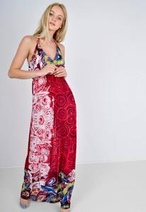 Czerwona sukienka Zoio oversize z dekoltem w kształcie litery v maxi