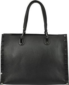 Czarna torebka Patrizia Piu z aplikacjami na ramię