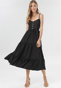 Czarna sukienka born2be midi na ramiączkach z dekoltem w kształcie litery v